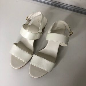 Like New White Strap Rope Wrapped Wedge Heels